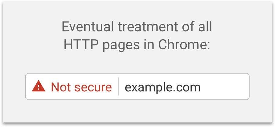 """El tratamiento final para todas las páginas HTTP en Chrome es mostrar un símbolo de rendimiento rojo con las palabras """"No estoy seguro""""."""