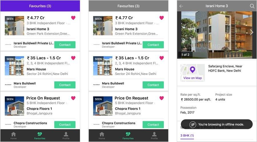 Tres pantallas en el sitio web de Housing.com Muestran cómo el diseño se adapta para mostrar cuándo está desconectado, y que los resultados almacenados se pueden ver incluso cuando está desconectado.