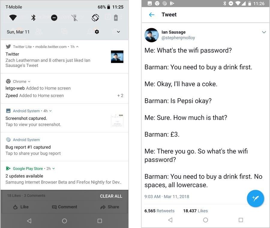 Dos pantallas: a la izquierda, una lista de notificaciones del sistema, incluida una página web a través de Twitter. A la derecha, se abrió un tweet divertido sobre las contraseñas de Wi-Fi en un bar en el sitio web de Twitter.