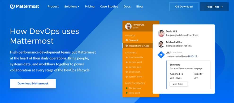 Mattermost proporciona herramientas para la colaboración de los equipos de DevOps.